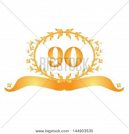 90th anniversary golden floral banner design element