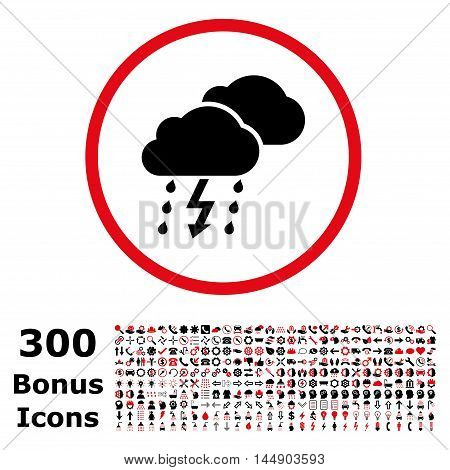 Thunderstorm rounded icon with 300 bonus icons. Glyph illustration style is flat iconic bicolor symbols, intensive red and black colors, white background.