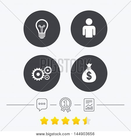 Business icons. Human silhouette and lamp bulb idea signs. Dollar money bag and gear symbols. Chat, award medal and report linear icons. Star vote ranking. Vector