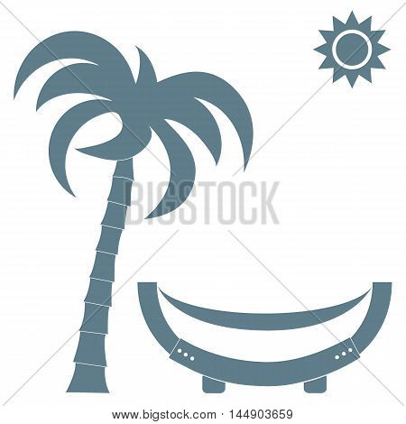 Vector illustration of a hammock under a palm tree and sun on a white background