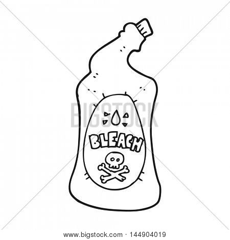 freehand drawn black and white cartoon bleach bottle
