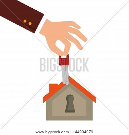 real state business house property key rent agent vector illustration