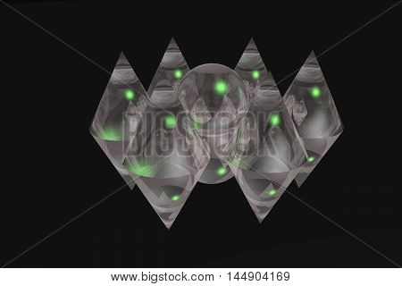 six glass cones and ball on a black background
