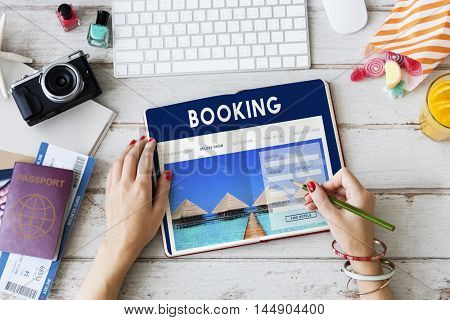 Booking Hotel Reservation Travel Destination Concept