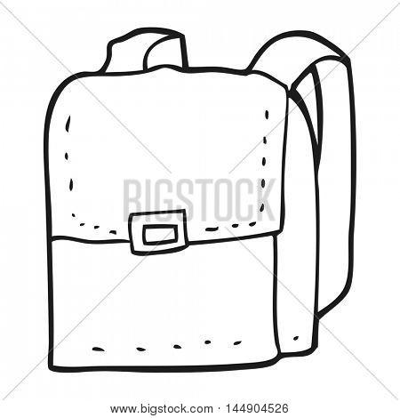 freehand drawn black and white cartoon bag