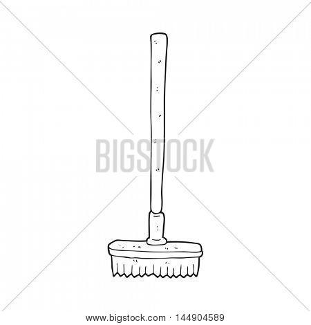 freehand drawn black and white cartoon broom