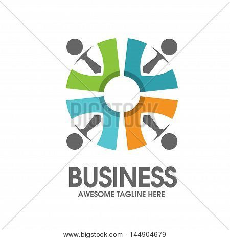 creative social people and work partnership logo vector