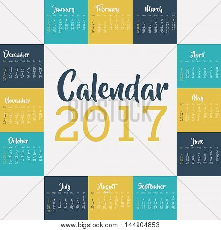 2017 year calendar planner month day frame icon. Colorful and Flat design. Vector illustration