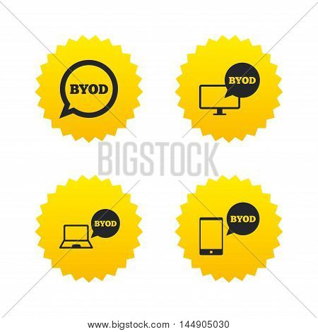 BYOD icons. Notebook and smartphone signs. Speech bubble symbol. Yellow stars labels with flat icons. Vector