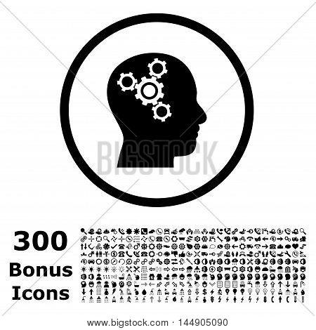 Brain Mechanics rounded icon with 300 bonus icons. Glyph illustration style is flat iconic symbols, black color, white background.