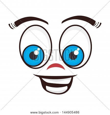 face cartoon happy character emotion expressive emoticon  vector illustration