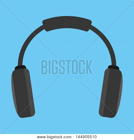 headphone black gadget music sound device con. Flat design. Vector illustration