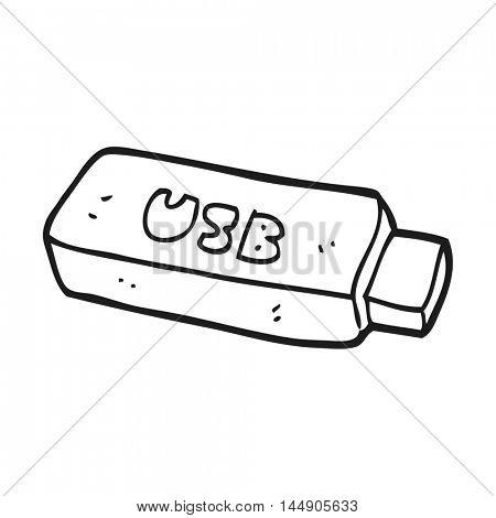 freehand drawn black and white cartoon USB stick