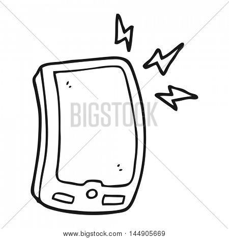 freehand drawn black and white cartoon mobile phone