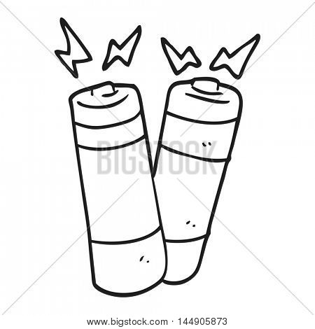 freehand drawn black and white cartoon batteries