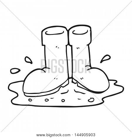 freehand drawn black and white cartoon wellington boots in puddle