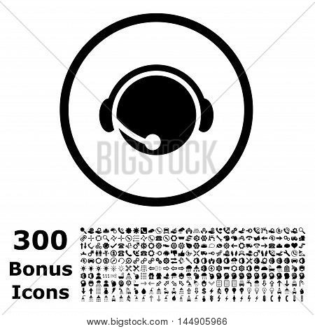 Call Center Operator rounded icon with 300 bonus icons. Glyph illustration style is flat iconic symbols, black color, white background.