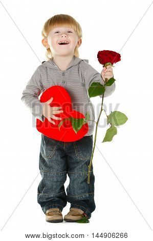 little beautiful boy with rose and heart isolated