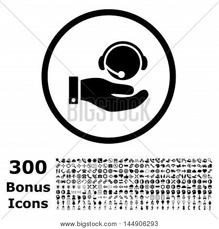 Call Center Service rounded icon with 300 bonus icons. Glyph illustration style is flat iconic symbols, black color, white background.