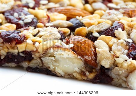 Detail Of Fruit, Nut And Seed Bar With Cranberries.