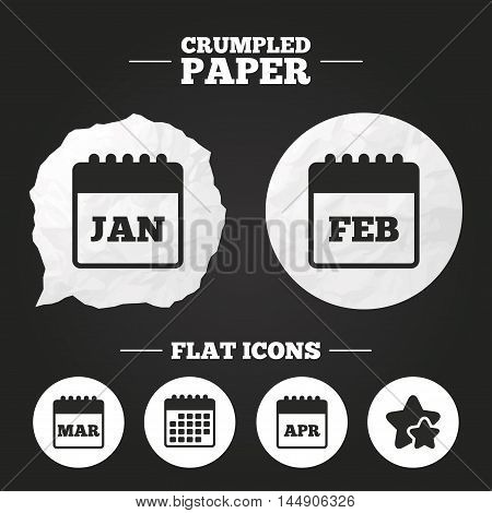 Crumpled paper speech bubble. Calendar icons. January, February, March and April month symbols. Date or event reminder sign. Paper button. Vector