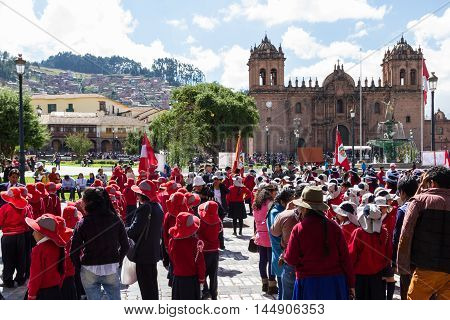 Swearing Of The School Police Or Juramentacion De La Policia Escolar En Cusco
