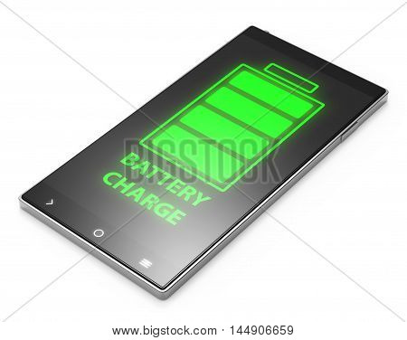 Illustration of Black 3D smartphone with battery charge on white background