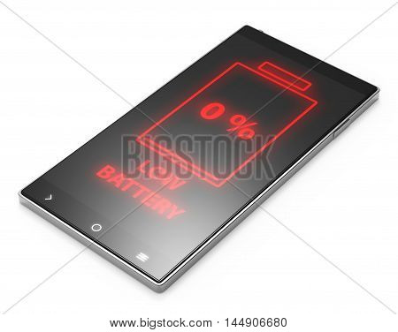 Illustration of Black 3D smartphone with low battery screen on white background