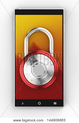 Illustration of Black 3D smartphone with pad lock on white background