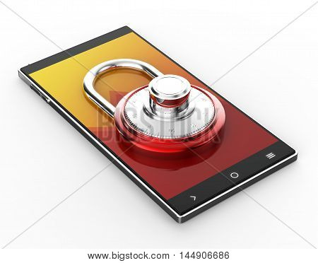 Illustration of Black 3D smartphone with red pad lock on white background