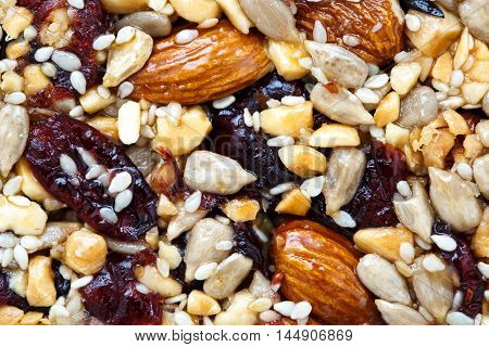 Background Of Fruit, Nut And Seed Bar With Cranberries.