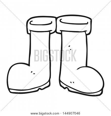 freehand drawn black and white cartoon wellington boots