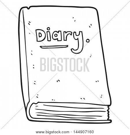freehand drawn black and white cartoon diary