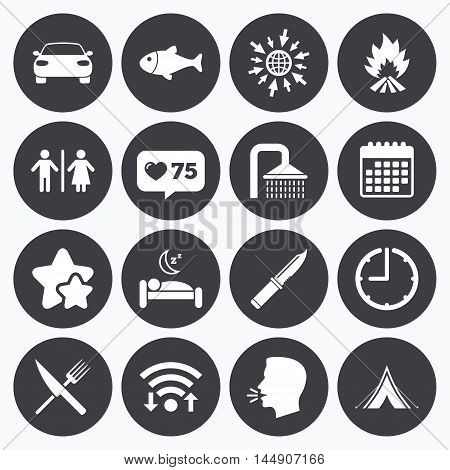 Calendar, wifi and clock symbols. Like counter, stars symbols. Hiking travel icons. Camping, shower and wc toilet signs. Tourist tent, fork and knife symbols. Talking head, go to web symbols. Vector