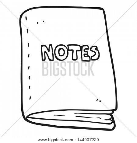 freehand drawn black and white cartoon note book