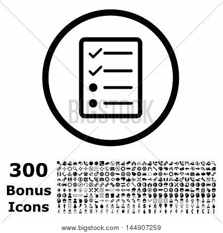 Checklist Page rounded icon with 300 bonus icons. Glyph illustration style is flat iconic symbols, black color, white background.
