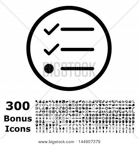 Checklist rounded icon with 300 bonus icons. Glyph illustration style is flat iconic symbols, black color, white background.