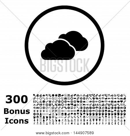 Clouds rounded icon with 300 bonus icons. Glyph illustration style is flat iconic symbols, black color, white background.