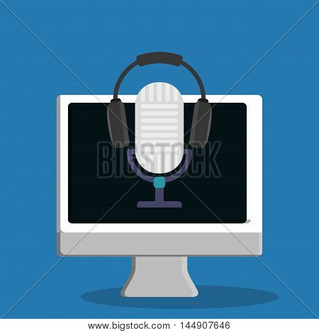 microphone headphone computer gadget tool music sound voice con. Flat design. Vector illustration