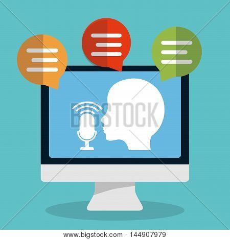 microphone computer head bubble gadget tool music sound voice con. Flat design. Vector illustration