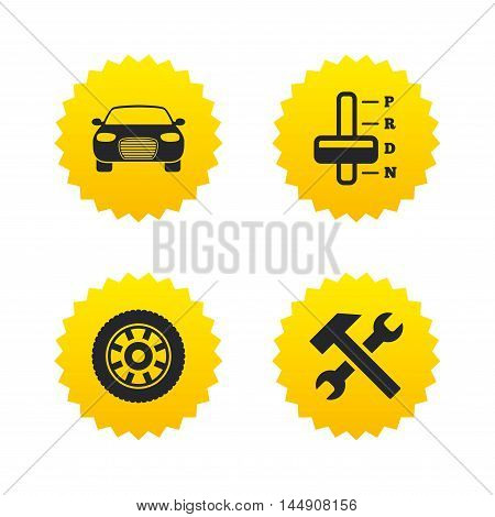 Transport icons. Car tachometer and automatic transmission symbols. Repair service tool with wheel sign. Yellow stars labels with flat icons. Vector