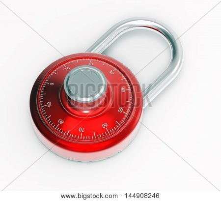 Illustration of Red 3D chrome locked combination pad lock on a white background