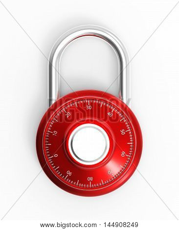 Illustration of Red 3D locked combination chrome pad lock on a white background