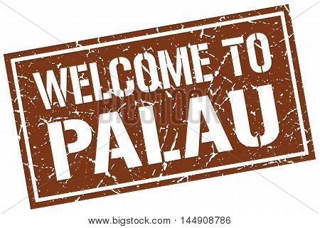 welcome to Palau. stamp. grunge square sign