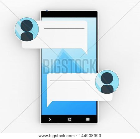 Illustration of Smartphone 3D with massage icons on white background