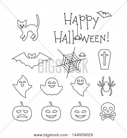 Halloween linear flat icons set. Cat ghosts skull bat spiders coffin spider net and smiling pumpkins. Happy Halloween text. Vector collection for your design