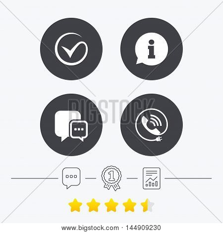 Check or Tick icon. Phone call and Information signs. Support communication chat bubble symbol. Chat, award medal and report linear icons. Star vote ranking. Vector