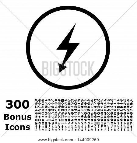 Electric Strike rounded icon with 300 bonus icons. Glyph illustration style is flat iconic symbols, black color, white background.