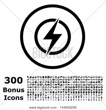 Electricity rounded icon with 300 bonus icons. Glyph illustration style is flat iconic symbols, black color, white background.