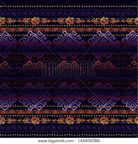 Dark horizontal seamless border pattern with tribal ornament ethnic stripes in black background. Geometric colorful design. Vector illustration stock vector.